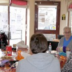 Knitters and Stitchers group meet, September 2015.